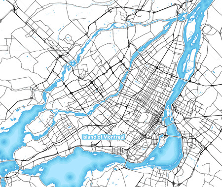 Map of the island of Montreal, Canada with the largest highways, roads and surrounding islands and islets