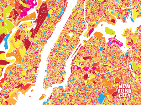 Colorful vector map of New York City. Very detailled version without bridges and names. NYC logo grouped seperatly.