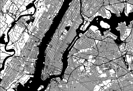 Map of Manhattan with parts of the Bronx, Queens, Brooklyn and Jersey City. Very detailled version without bridges and names.