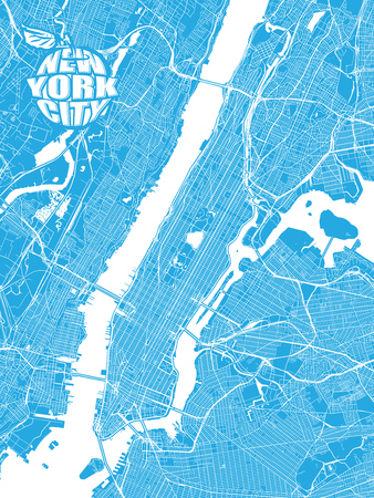 Blue map of New York City with Apple Logo. Very detailled version with bridges and without names. NYC-Apple logo grouped seperatly.