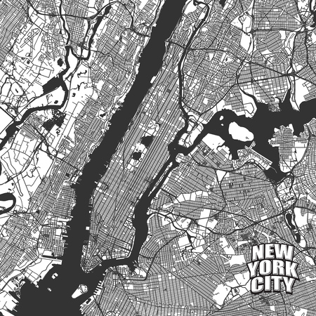 New York City vector map. Very detailled version without bridges and names. NYC logo grouped seperatly. Illustration