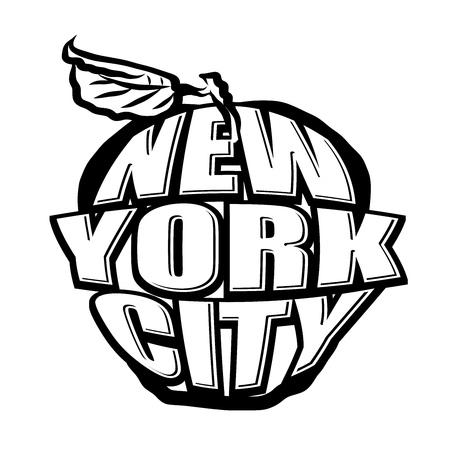 Big Apple NYC Logo. Black and White version. Lettering vector artwork. Illustration
