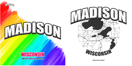 Madison, Wisconsin, logo design. Two in one vector arts. Big logo with vintage letters with nice colored background and one-color-version with map for every possible print production.