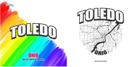 Toledo, Ohio, logo design. Two in one vector arts. Big logo with vintage letters with nice colored background and one-color-version with map for every possible print production. Illustration
