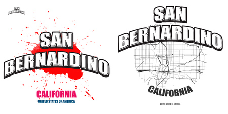 San Bernardino, California, logo design. Two in one vector arts. Big logo with vintage letters with nice colored background and one-color-version with map for every possible print production.