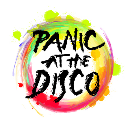 Panic at the disco. lettering on colorful backgound. Hand drawn vector design. Archivio Fotografico - 104302121