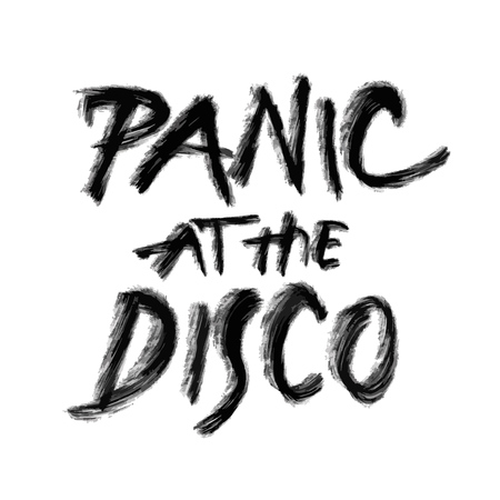 Panic at the disco, hand drawn lettering, poster print design vector element Stock Illustratie