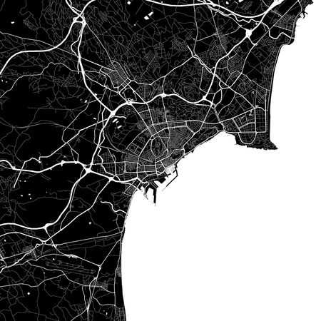 Area map of Alicante, Spain. Dark background version for infographic and marketing projects. This map of Alicante contains typical landmarks with streets, waterways and railways for additional information and easy access to color changes.