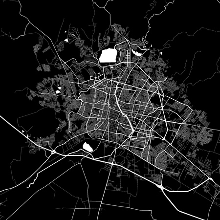Area map of León, Mexico. Dark background version for infographic and marketing projects. This map of León, León Municipality, contains typical landmarks with streets, waterways and railways for additional information and easy access to color changes.