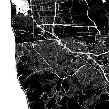 Mapa del área de Tijuana, México. Versión de fondo oscuro para proyectos de infografía y marketing. Este mapa de Tijuana, Municipio de Tijuana, contiene puntos de referencia típicos con calles, vías fluviales y ferrocarriles para obtener información adicional y un fácil acceso a los cambios de color.