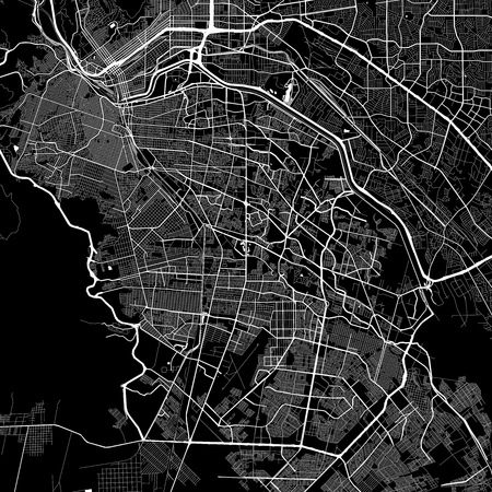 Area map of Ju??? ? rez, Mexico. Dark background version for infographic and marketing projects. This map of Ju??? ? rez, Ju??? ? rez Municipality, contains typical landmarks with streets, waterways and railways for additional information and easy access to color changes. Ilustrace