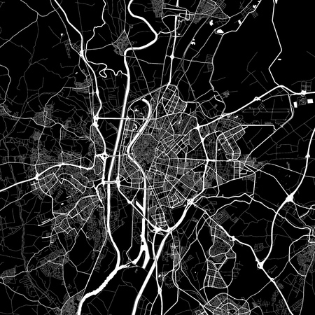 Area map of Seville, Spain. Dark background version for infographic and marketing projects. This map of Seville contains typical landmarks with streets, waterways and railways for additional information and easy access to color changes.