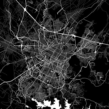 Area map of Puebla, Mexico. Dark background version for infographic and marketing projects. This map of Puebla, Puebla Municipality, contains typical landmarks with streets, waterways and railways for additional information and easy access to color changes.