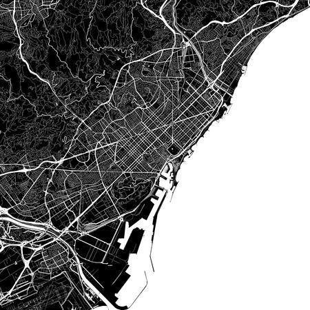 Area map of Barcelona, Spain. Dark background version for infographic and marketing projects. This map of Barcelona contains typical landmarks with streets, waterways and railways for additional information and easy access to color changes.