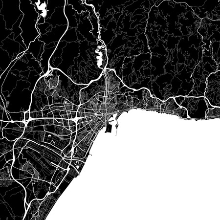 Area map of Malaga, Spain. Dark background version for infographic and marketing projects. This map of Málaga contains typical landmarks with streets, waterways and railways for additional information and easy access to color changes.