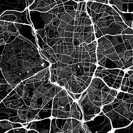 Area map of Madrid, Spain. Dark background version for infographic and marketing projects. This map of Madrid contains typical landmarks with streets, waterways and railways for additional information and easy access to color changes.