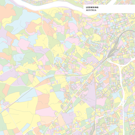 Colorful map of Leonding, Austria. Background version for infographic and marketing projects. This map of Leonding, contains typical landmarks with streets, waterways and railways.