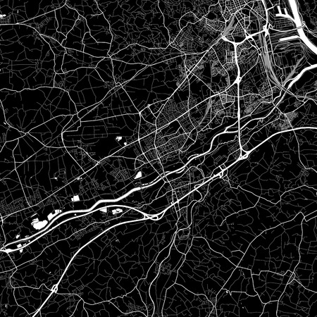 Area map of Traun, Austria. Dark background version for infographic and marketing projects. This map of Traun, contains typical landmarks with streets, waterways and railways. Ilustrace