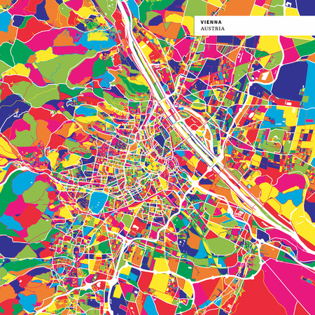 Colorful map of Vienna, Austria. Background version for infographic and marketing projects. This map of Vienna, contains typical landmarks with streets, waterways and railways.