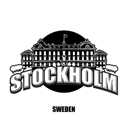 Stockholm royal palace black and white  for high quality prints. Hand drawn vector sketch.