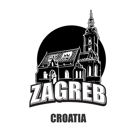 Zagreb, Croatia, black and white logo for high quality prints. Hand drawn vector sketch.