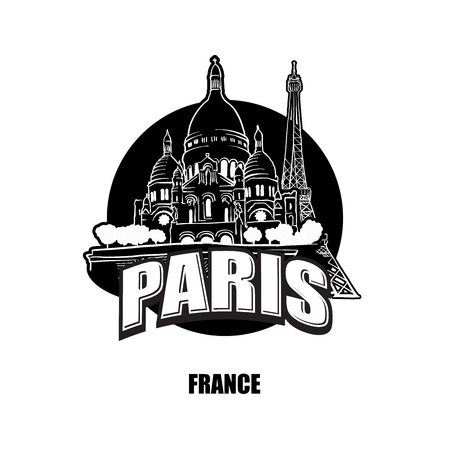 Paris, France, black and white logo for high quality prints. Hand drawn vector sketch.