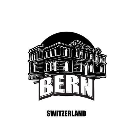 Bern, switzerland, black and white logo for high quality prints. Hand drawn vector sketch.  イラスト・ベクター素材