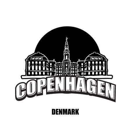 Copenhagen, Denmark, black and white logo for high quality prints. Hand drawn vector sketch.
