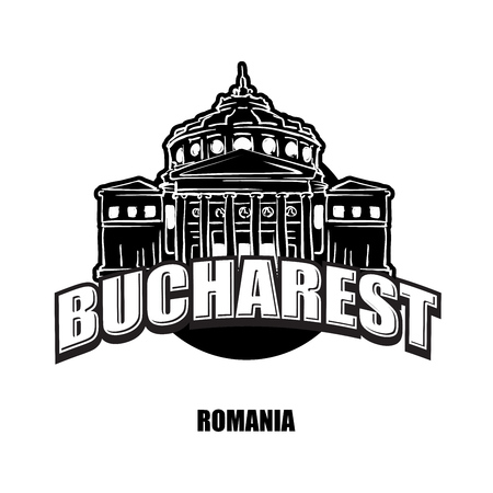 Bucharest, Romania, black and white logo for high quality prints. Hand drawn vector sketch.