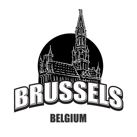 Brussels, Belgium, black and white logo for high quality prints. Hand drawn vector sketch.