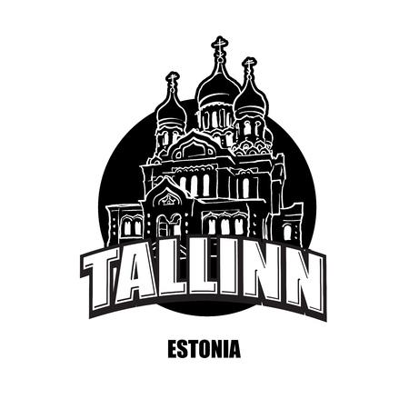 Tallin, Estonia, black and white logo for high quality prints. Hand drawn vector sketch.