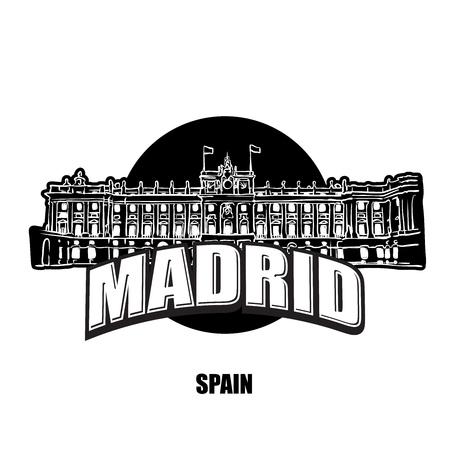 Logotipo del Palacio Real de Madrid en blanco y negro para impresiones de alta calidad. Dibujo vectorial dibujado a mano. Logos