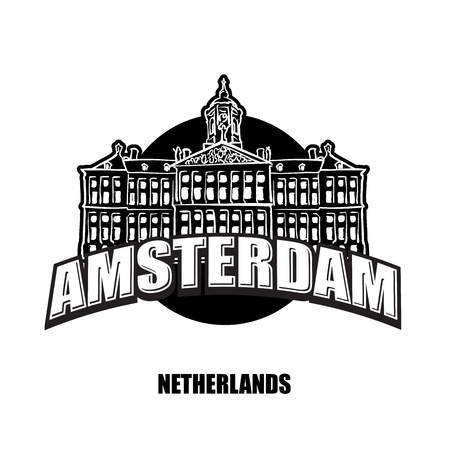Amsterdam, Netherlands, black and white logo for high quality prints. Hand drawn vector sketch. Illustration