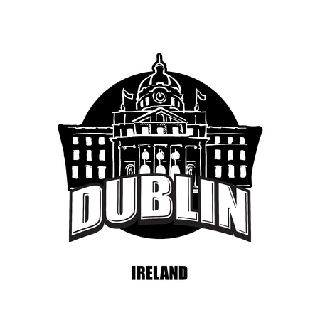 Dublin, Ireland, black and white  for high quality prints. Hand drawn vector sketch.