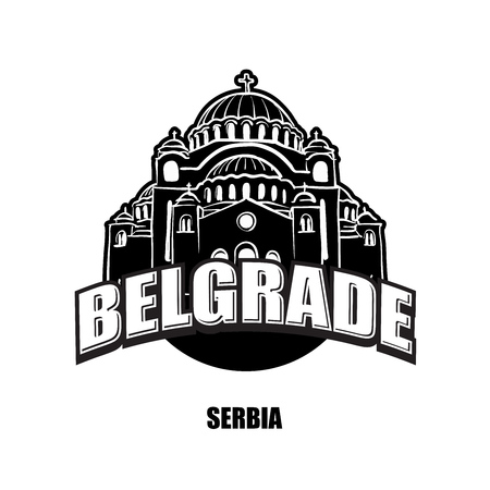 Belgrade, Serbia, black and white  for high quality prints. Hand drawn vector sketch. Illustration