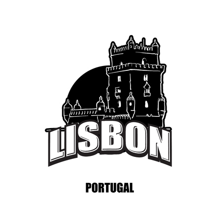 Lisbon, tower, black and white logo for high quality prints. Hand drawn vector sketch.