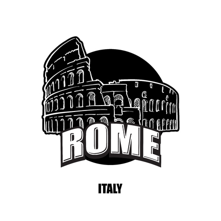 Rome, Italy, black and white logoblack and white logo for high quality prints. Hand drawn vector sketch.