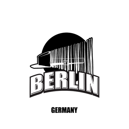 Berlin, wall, black and white logo for high quality prints. Hand drawn vector sketch.
