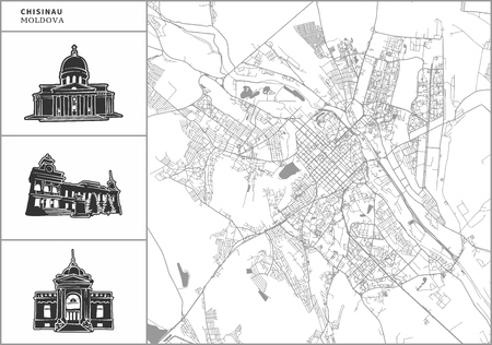 Chisinau city map with hand-drawn architecture icons. All drawigns, map and background separated for easy color change. Easy repositioning in vector version.
