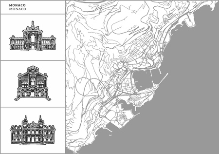 Monaco city map with hand-drawn architecture icons. All drawigns, map and background separated for easy color change. Easy repositioning in vector version.