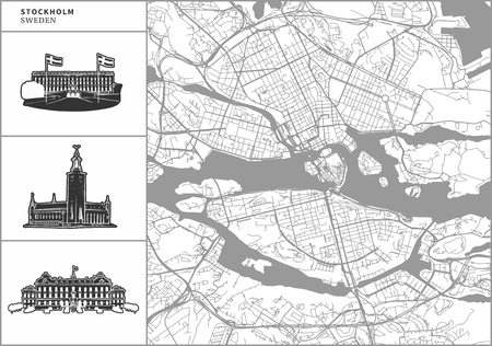 Stockholm city map with hand-drawn architecture icons. All drawigns, map and background separated for easy color change. Easy repositioning in vector version. Ilustração
