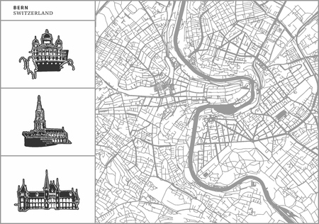 Bern city map with hand-drawn architecture icons. All drawigns, map and background separated for easy color change. Easy repositioning in vector version. Banque d'images - 105690631