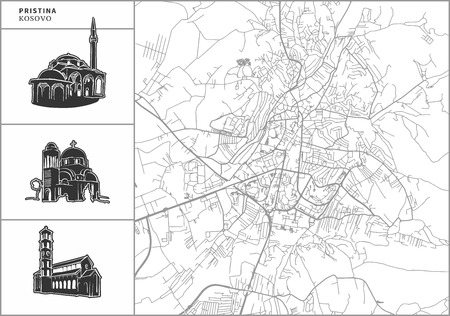 Pristina city map with hand-drawn architecture icons. All drawigns, map and background separated for easy color change. Easy repositioning in vector version. Ilustrace