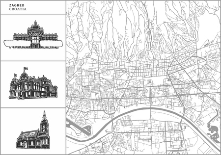 Zagreb city map with hand-drawn architecture icons. All drawigns, map and background separated for easy color change. Easy repositioning in vector version.