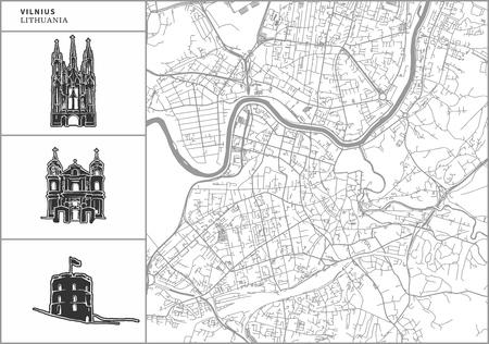 Mapa de la ciudad de Vilnius con iconos de arquitectura dibujados a mano. Todos los dibujos, el mapa y el fondo están separados para facilitar el cambio de color. Fácil reposicionamiento en versión vectorial.