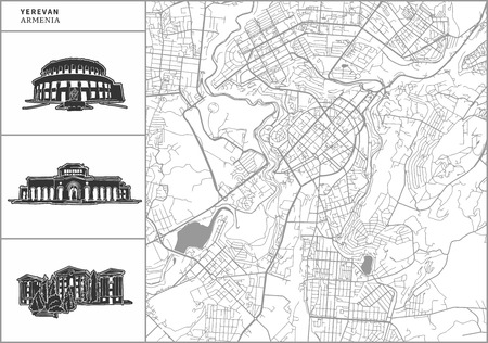 Yerevan city map with hand-drawn architecture icons. All drawigns, map and background separated for easy color change. Easy repositioning in vector version. Illustration