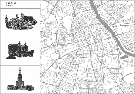 Warsaw city map with hand-drawn architecture icons. All drawigns, map and background separated for easy color change. Easy repositioning in vector version. Illusztráció