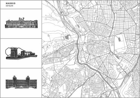 Mapa de la ciudad de Madrid con iconos de arquitectura dibujados a mano. Todos los dibujos, el mapa y el fondo están separados para facilitar el cambio de color. Fácil reposicionamiento en versión vectorial.