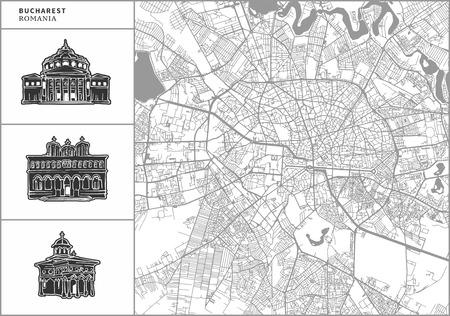 Bukarester Stadtplan mit handgezeichneten Architekturikonen. Alle Zeichnungen, Karten und Hintergründe sind für einen einfachen Farbwechsel getrennt. Einfache Neupositionierung in der Vektorversion.