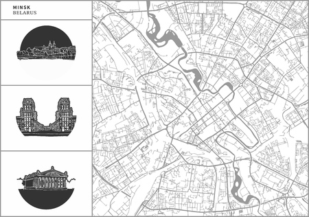 Minsk city map with hand-drawn architecture icons. All drawigns, map and background separated for easy color change. Easy repositioning in vector version. Illustration